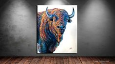 Contemporary colorful animal wildlife art paintings and prints by Artist Teshia. Featuring vivid wild animal custom paintings and fine art prints. Colorful Animals, Large Animals, Acylic Painting Ideas, Farm Art, Braveheart, Wildlife Art, Bison, Park City, Artist Art