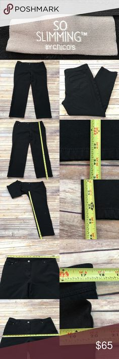 "Size 14 Chico's 2.5 Short Black Skinny Leg Pants • Measurements are in photos  • Material tag is in photos • Normal wash wear, no flaws • So Slimming  • Short, 25"" Inseam • Stretch  E3/60  Thank you for shopping my closet! Chico's Pants Skinny"