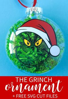Add this devilish grin to your Christmas Tree this year with this fun Grinch Christmas Ornament. Free cut file and tips to make your own!