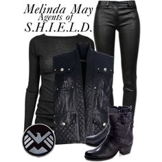 A fashion look from October 2013 featuring long sleeve shirts, quilted vests and stretchy skinny jeans. Browse and shop related looks. Tv Show Outfits, Cute Outfits, Character Dress Up, Themed Outfits, Quilted Vest, Long Sleeve Shirts, Fashion Looks, Leather Jacket, Characters
