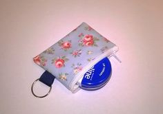 Mini Coin purse, Key ring in Oilcloth, Pale blue  floral, fits  lip vaseline £3.99