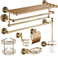 Antique Bronze Bathroom Accessories European Brushed Solid Brass Bathroom Hardware sets Carved Bathroom Products rt41 #Affiliate
