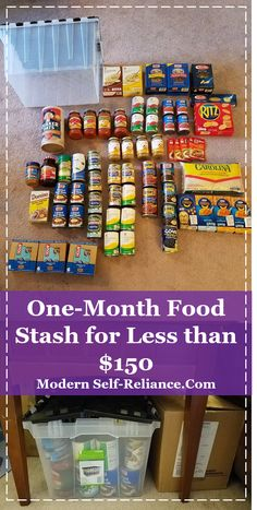 Build a 1 month food storage solution for apartment preppers