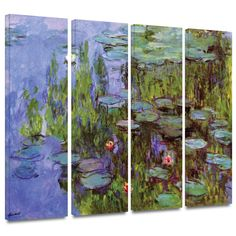 Art Wall 'Sea Roses' by Claude Monet 4 Piece Painting Print Gallery-Wrapped on Canvas Set 3 Piece Painting, 3 Piece Wall Art, Canvas Fabric, Canvas Art Prints, Painting Prints, Canvas Canvas, Claude Monet, Wrapped Canvas, Artwork