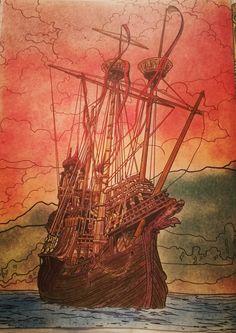 HP, HarryPotterColoringBook, Durmstrang, Progresso, Polycolor, ColoringPage