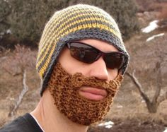 yellow and gray striped bearded beanie - L/XL