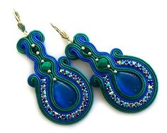 Beautiful earrings in the technique of soutache embroidery made with czech glass pearl beads (10mm, 4mm), TOHO seed beads, satin soutache strips and