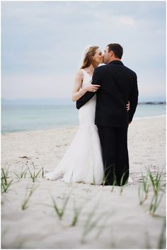 Bride and Groom portrait on a stormy day // Cape Cod Beach Wedding // Shannon Grant Photography