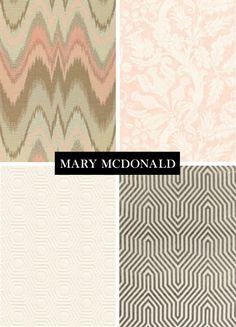 Mary McDonald Fabrics in pinks, grey and white // flamestitch, damask, honeycomb and geometric patterns