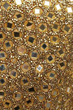 ANNAIKKA Flesh pleated tube dress with gold mirror work short jacket available only at Pernia's Pop-Up Shop. Zardosi Embroidery, Border Embroidery, Tambour Embroidery, Bead Embroidery Patterns, Hand Work Embroidery, Flower Embroidery Designs, Gold Embroidery, Mirror Work Dress, Sheila E