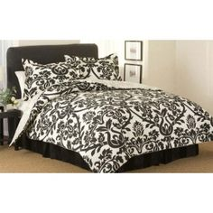 Zeus Black Large Scroll Comforter 4 Piece Set - Discount Toile Comforters and Comforter Sets. I would and a pop color like red or blue Damask Bedroom, Damask Decor, Damask Bedding, Black Comforter, White Bedding, Master Bedroom, Dream Bedroom, White Bedroom, Teen Bedroom
