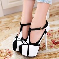new 2015 summer fashion shoes woman sexy ultra high heels platform pumps women's wedges shoes T-Strap white black white pumps