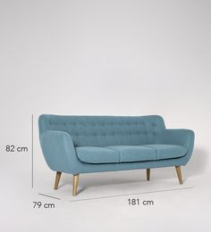 Swoon Editions Three-seater sofa, Mid-century style in Powder Blue - £629