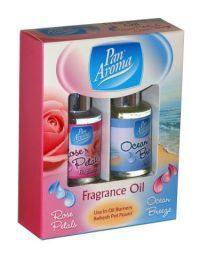 £0.99 - Pan Aroma Fragrance Oil Rose Petals And Ocean Breeze 2 Pack Use in oil burner and refresh Pot Pourri.