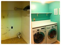 Before/after laundry room. Goodbye drab walls and wire shelves, hello bright clean look! Wire Shelving, Shelves, Laundry Room, Washing Machine, Home Appliances, Cleaning, Remodeling, Walls, Bright