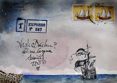 mail art with ship - Sea mail by Lord Marmalade Envelope Lettering, Envelope Art, Collages, Mail Art Envelopes, Blog Art, Decorated Envelopes, Going Postal, Postcard Art, Letter Art