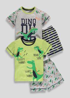 Boys 2 Pack Dinosaur Shortie Pyjamas (9mths-5yrs) View 1