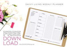 Free Printable Savvy Living Weekly Planner at Kaleidoscope Blog