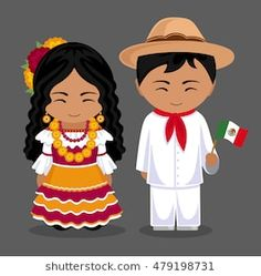 Mexicans in national dress with a flag. Man and woman in traditional costume. Travel to Mexico. People. Vector flat illustration.