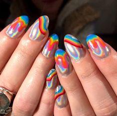 Cute Acrylic Nails, Gel Nails, Toenails, Coffin Nails, Nail Polish, Acrylic Gel, Rainbow Nail Art Designs, Fire Nails, Rainbow Nails