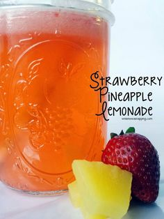 Add a little tropical flavor to your lemonade! A touch of the tropics makes this strawberry pineapple lemonade a delicious beverage for all your summer drink needs. Fruit Drinks, Smoothie Drinks, Non Alcoholic Drinks, Party Drinks, Cold Drinks, Healthy Drinks, Cocktail Drinks, Cocktails, Beverages