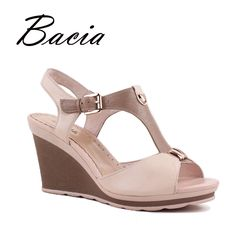 Find More Women's Sandals Information about Bacia High Wedges Fashion Pink Sadlals Pumps Luxury Genuine…
