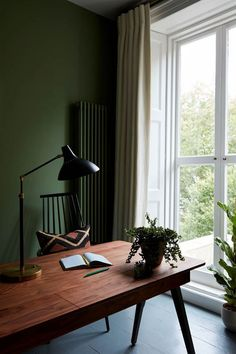 Dark olive green walls for home office area. Dark olive green walls for home office area. Dark Green Living Room, Dark Green Walls, Olive Green Walls, Living Room Decor Green, Olive Green Decor, Mint Green, Living Room Wall Designs, Home Living Room, Home Office Design