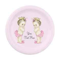 Shop Vintage Princess Twin Baby Girl Paper Plate created by The_Vintage_Boutique. Personalize it with photos & text or purchase as is! Baby Shower Princess, Baby Princess, Baby Shower Invites For Girl, Baby Boy Shower, Royal Princess, Twin Baby Girls, Twin Babies, Baby Shower Plates, Superhero Birthday Invitations