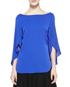 Butterfly Scoop-Back Silk Top by Milly at Neiman Marcus.