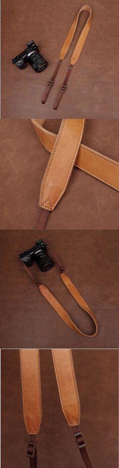 Light Brown Handmade DSLR Leather Camera Strap  - 2298 i-cam