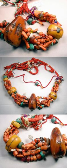 Morocco | Lovely old necklace where all three of the main focal amber beads have been repaired over time | ©Mosquitobay on BeadCollector