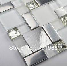 Glass mosaic kitchen backsplash tile SSMT104 silver stainless steel metal mosaics crystal white glass mosaic bathroom wall tiles