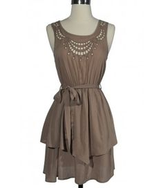 Cute Cutout Dress in Beige
