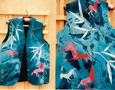 935 red horses bamboo. 716 - Long waistcoat by Jackie Wills, hand painted onto denim and machine embroidered. www.jackiewills.co.uk