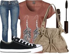 i'd go with just the jeans, shirt, and converse.