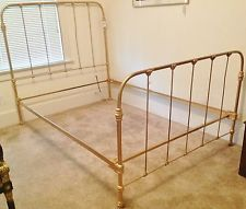 c 1920 Antique Cast Iron Gold Painted Full Bed Frame