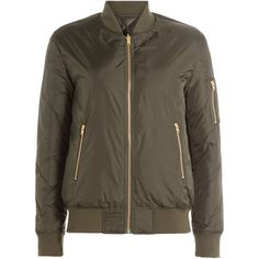 Closed Bomber Jacket (410 AUD) ❤ liked on Polyvore featuring outerwear, jackets, green, blouson jacket, bomber jacket, flight bomber jacket, collar jacket and green bomber jacket