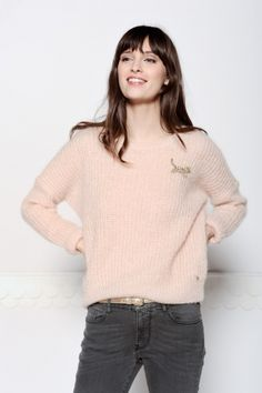 Pastel peach soft sweater. Looks lovely and warm!