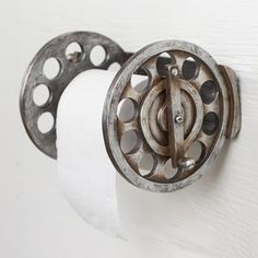 This clever Fishing Reel Toilet Paper Holder is sure to bring instant camp style to your bathroom decor. Cabin Bathrooms, Nautical Bathrooms, Toliet Paper Holder, Toilet Paper, Fish Bathroom, Bathroom Ideas, Toilet Repair, Water Pipes, Furniture