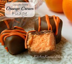 Chocolate Dipped Orange Cream Fudge. These are so easy to make. They're a great #Christmas candy.