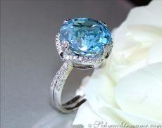 Cute Blue Topaz Diamond Ring, 10,34 cts. WG14K