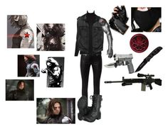 """""""Female outfit for James Buchanan """"Bucky"""" Barnes as the winter solider"""" by sakura1111 ❤ liked on Polyvore featuring moda, Marvel Comics, Alexander McQueen, Karl Lagerfeld, Alice + Olivia, rag & bone, RIFLE, women's clothing, women's fashion e women"""