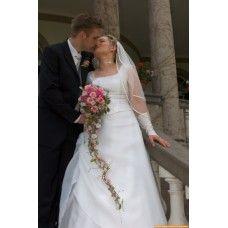 Bruidsboeket : Waterval bruidsboeket roze met passiebloem en rozen