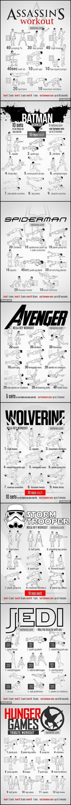 Assassin's Creed, Batman, Spiderman, Avenger's, Wolverine, Storm Trooper, Jedi, and Hunger Games styled workout. So cool!