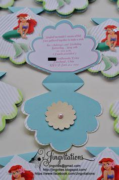 mermaid invitation   Little Mermaid Princess Ariel Seashell Birthday Invitations