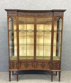 Circa 1910 Fine Quality Burr Walnut Display Cabinet Glazed Queen Anne Glass
