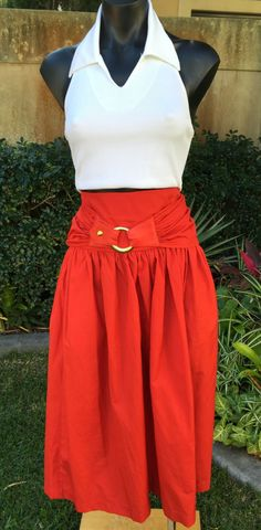 Vintage Italian Jenny Red Skirt Size 10 by PippiLime on Etsy
