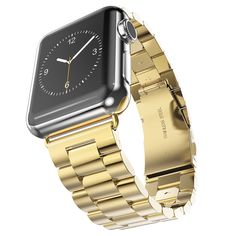 Apple iWatch Wrist Band, Strap, Polished Gold Solid Stainless Steel, Replacement, New, 42mm, 6 Removable Links + Adapters, Sturdy Two Clasp Buckle System by Clixsy also Watch & Sport Edition