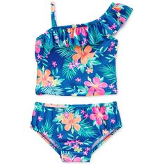 Carter's Baby Girls' 2-Piece Floral Tankini Swimsuit ❤ liked on Polyvore