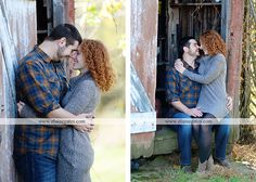 Mechanicsburg Central PA engagement portrait photographer outdoor couple love hug kiss holding hands water creek stream road fence dog tree field old barn {Tori P.} « Elaine Gates Photography